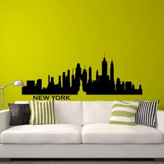 New York Skyline NYC Wall Decal City Silhouette New York Scape Decals Murals Office Living Room Bedroom Dorm NYC Wall Art Home Decor C027