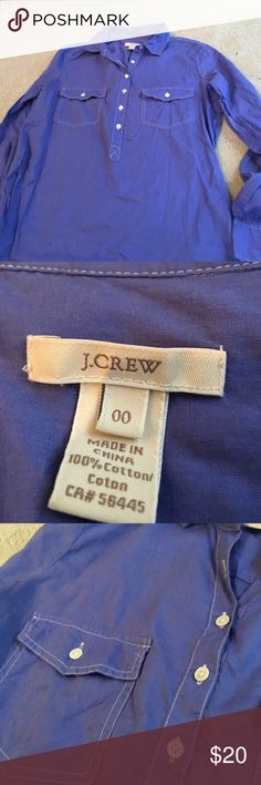 J.Crew 100 % cotton blue tunic top A great 100% cotton classic blue with faux pearl button with pocket accents. Long sleeve with button cuffs.  Excellent condition never worn J. Crew Tops Tunics