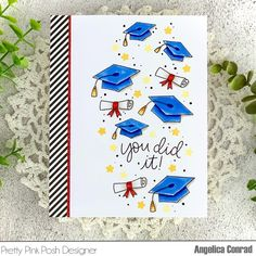 Graduation Cards Handmade, Greeting Cards Handmade, Pretty Pink Posh, Congratulations Graduate, Pattern Paper, Whimsical, Projects To Try, Stamp