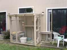 2. Outdoor Enclosures for Cats An indoor/outdoor cat can easily be made a totally indoor cat with perseverance on your part. They may resent their confinement for a short time, but they will adjust. (Constructed off back/side patio.)