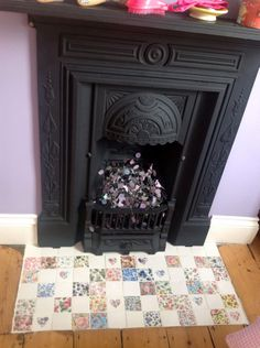 Fireplace with Wellbeck Tiles Vintage Tile, Mosaic Tiles, Fireplaces, Countryside, Dads, House Ideas, Hardware, Cottage, Bedroom
