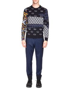 Multi-Icon Print Crewneck Sweater & Tailored Jogger Pants by Kenzo at Neiman Marcus.