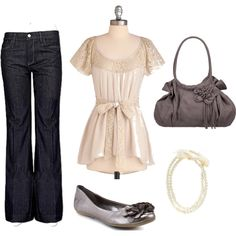 7 for all mankind Ginger Stretch Trouser + Back in a Sash Top + Scrunch Side Flower Handbag + Adele Marie Ribbon And Pearl Necklace + Pewter Reaction Slip Sliding Flats