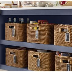 Wicker Baskets for sale! We love wicker laundry baskets, rattan baskets, and more in a beach home. Fabric Storage Bins, Storage Spaces, Wicker Storage Baskets, Laundry Baskets, Kitchen Storage Baskets, Picnic Baskets, Cubby Storage, Shoe Storage, Storage Boxes