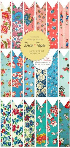 Retro Plants: Vintage Fabric Deco Tape. . . freebie!