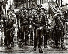 And whilst were at leather and beards... Roy, leading the BLUF and Leather Pride group at Pride, London (2014) - the Man knows both His gear and How to wear it...