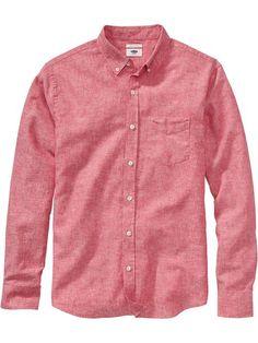 Men's Slim-Fit Linen-Blend Shirts