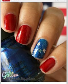 Patriotic manicure  - nails for Memorial Day or July 4th