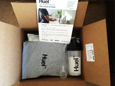 My Huel delivery box came complete with a grey Huel T-shirt, a Huel bottle, a scoop and an instruction leaflet.