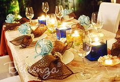 Wedding tables with brown table decorations