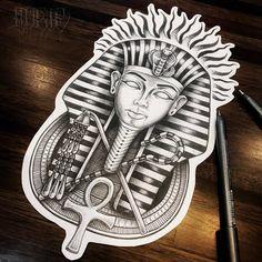 ART and TATTOO Egyptian Tattoo Sleeve, Leg Sleeve Tattoo, Tattoo Sleeve Designs, Tattoo Designs Men, Egypt Tattoo Design, Tattoo Design Drawings, Tattoo Sketches, King Tut Tattoo, King Tattoos
