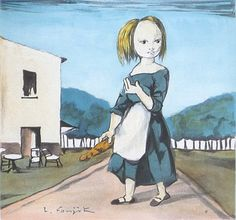 藤田嗣治(レオナール・フジタ)「パンを持つ少女」 | 翠波画廊(すいは画廊)