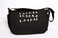 Black Canvas Laptop Messenger BagBirds On A Wire by Bullabags, $40.00