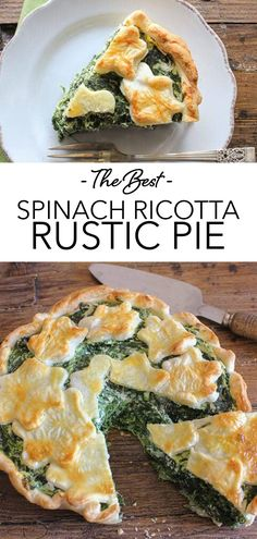 A delicious Italian Savory Pie Recipe, made with Ricotta, Spinach and Parmesan Cheese. Get your greens easily with this perfect healthy comfort food dinner or appetizer. | anitalianinmykitchen.com #pie #spinach #ricotta #italian Vegetarian Recipes Dinner, Dinner Recipes, Delicious Recipes, Parmesan Roasted Potatoes, Spinach Ricotta, Healthy Comfort Food, Chaat, Recipe For Mom, Yummy Appetizers