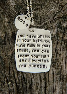 Dr Seuss Quote Necklace, Class of 2012