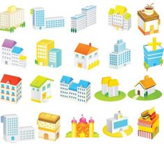 Cartoon Style Buildings Vector Icons Pack - https://gooloc.com/cartoon-style-buildings-vector-icons-pack/