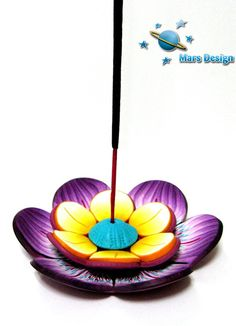 Incense stick holder by Marcia - Mars design, via Flickr Polymer Clay Flowers, Fimo Clay, Polymer Clay Projects, Polymer Clay Art, Clay Candle Holders, Incense Holder, Cheap Candles, Clay Design, Clay Tutorials