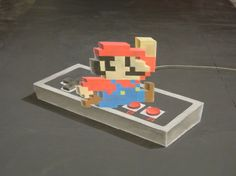 12 Incredible 3D Chalk Illustrations That'll Kick You Right In The Nostalgia - Mario by  Chris Carlson