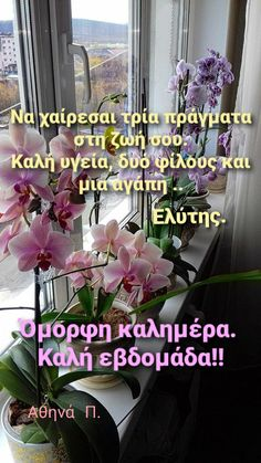 Good Morning Images Flowers, Good Morning Good Night, Greek Quotes, Wonderful Images, The Good Place, Quotations, Cool Photos, Spirituality, Greece