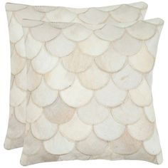 Elita Pillow   Cowhide  22x22 Cream (Pair)  by Safavieh  Handstiched scallop cutouts are each backed with solid suede  $129