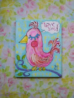 Love Bird Valentines Gift Idea Canvas Painting Made To Order on Etsy, $35.00