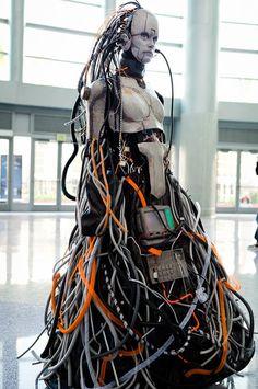Cyberpunk Art, Avery Faeth: Salvaged Confederate Adjutant from Starcraft 2 in Otaku House Cosplay Idol 2012 Arte Alien, Arte Robot, Arte Cyberpunk, Cyberpunk Fashion, Cyberpunk Aesthetic, Cyborg Costume, Cosplay Costumes, Alien Cosplay, Nono Le Petit Robot