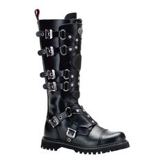 Leather Buckle Knee Combat Goth Steampunk Military Boots Mens
