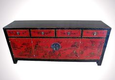 Black and red Chinese cabinet, circa 1880