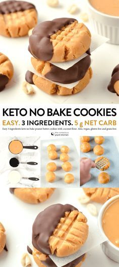 THE BEST NO BAKE Peanut Butter Cookies Keto vegan .hat I can only eat desserts that are low in carbs and low in sugar. Low carb desserts vary greatly - some are much tastier than others. Keto Cookies, Keto Peanut Butter Cookies, Healthy Cookies, Cookies For Diabetics, Nutter Butter, Almond Cookies, Shortbread Cookies, Low Carb Desserts, Healthy Desserts