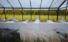 Food Studio glass greenhouse with sheepskin chairs