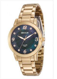 23553LPSVDA2 Relógio Feminino Dourado Seculus Analógico   Guest Club