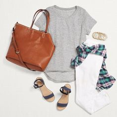 Clean & Crisp! Freshen up your favorite tee with crisp white denim (a nice departure from tried & true blue), a cognac tote & a plaid button-up for those unplanned after-sunset drinks.  Stylist Tip: Want a more structured silhouette for your tee? Do the messy tuck! Gather a handful of fabric at your shirt's hem, then tuck it into your waistband where your pocket & first belt loop meet