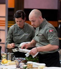 Chef Trevor and Chef Barrie race against the clock. Egg Noodles, Tilapia, Entrees, Clock, Fruit, Game, Food, Watch, Meal