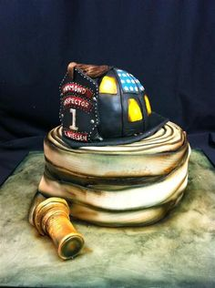 Fire Helmet & Hose Cake | Shared by LION
