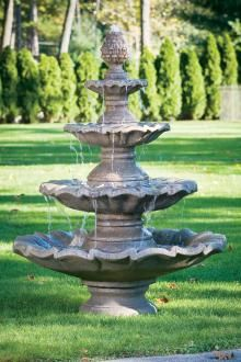 By putting a deluxe outdoor fountain on your backyard, your can create a unique texture and add some elegance. Maybe you are after a wall fountain. Concrete Fountains, Stone Fountains, Concrete Patio, Outdoor Lighting, Outdoor Decor, Outdoor Ideas, Aluminum Patio, Cast Stone, Garden Stones
