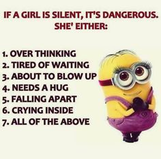 I am always dangerous, silent or not. LOL... # 4 is nice. Hugs are wonderful to give and receive. :)