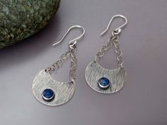Blue Crescent Earrings - Textured Sterling Silver Chandelier Earrings with Denim Blue Sodalite Stones -ready to ship by LichenAndLychee on Etsy https://www.etsy.com/listing/168074280/blue-crescent-earrings-textured-sterling