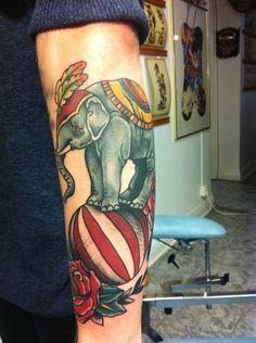 the artist elephant tattoos circus elephant tattoo circus tattoo Grey Ink Tattoos, Body Art Tattoos, Sleeve Tattoos, Ear Tattoos, Tattoo Art, Tatoos, Circus Elephant Tattoos, Circus Tattoo, Infinity Tattoo On Wrist