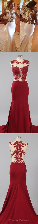 Modest Silk-like Satin Applique Lace Scoop Neck White Trumpet/Mermaid Long Prom Dresses