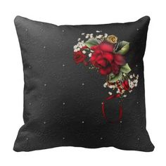 Black Damask with Blood Red Roses Babys Breath Pillows