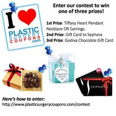 Enter our I Love Plastic Surgery Coupons Pinterest contest to win one of three prizes!  Here's how to enter: http://www.plasticsurgerycoupons.com/contest