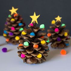 The kids will want to lend a hand with these easy to make Decorated Pine Cone Christmas Trees