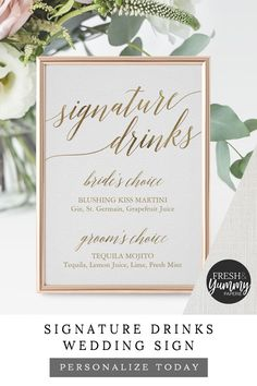 Signature Drinks Wedding Reception Sign by Fresh & Yummy Paperie. The simple and elegant design features stunning faux g Wedding Reception Signs, Wedding Signage, Wedding Reception Table Decorations, Wedding Head Tables, Budget Wedding Decorations, Antique Wedding Decorations, Minimalist Wedding Reception, Spring Wedding Centerpieces, Reception Seating