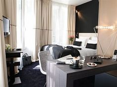 Hotel Bel Ami, Paris.  Top class hotels always want the best for their interiors and they hire top notch interior design firms to decorate their interiors: lobby, rooms, bathrooms and restaurants. They want their clients to have the best experience of their life. Philippe Maidenberg conceived the newly refurnished bedrooms as elegant and minimal environments in which one can easily settle, 1-888-DDHRM09