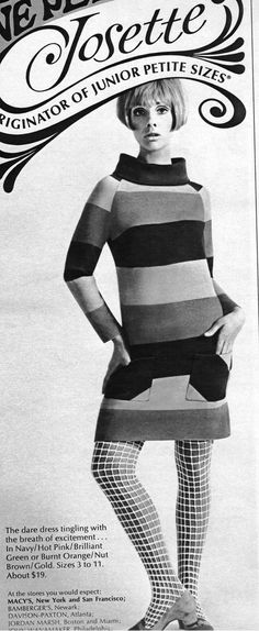 Cay Sanderson for Josette Junior Petites ~ Seventeen magazine, 1967 1967 Fashion, 60s And 70s Fashion, Mod Fashion, Young Fashion, Teen Fashion, Vintage Fashion, Vintage Style, 60s Vintage Clothing, Vintage Outfits