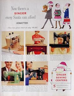1958 Singer Vintage Sewing Machine Ad Slant O Matic Featherweight from Santa | eBay