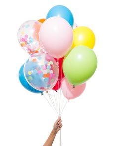 "Confetti without the mess of confetti? Sign me up! The perfect addition to your party. - 12 Latex Balloons (9 Solid & 3 Pre-Filled Confetti Balloons) - 11"" Diameter - Helium or Hand Pump Recommended -"