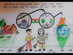 Drawing on swachh bharat ll clean India drawing/poster ll Swachh Bharat poster making Oil Pastel Drawings, Cute Drawings, Animal Drawings, India Painting, Online Painting, Tiger Drawing For Kids, Clean India Posters, Independence Day Drawing, Holiday Homework