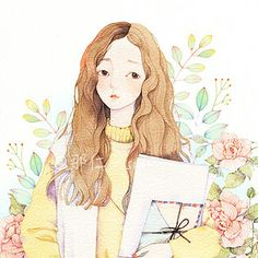 watercolour illustration anime girl with letters Art And Illustration, Watercolor Illustration, Watercolor Paintings, Art Anime, Anime Kunst, Arte Gcse, Cover Wattpad, Pretty Art, Aesthetic Art