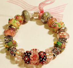 Pinks & Greys Flower Glass European Bead Charm Bracelet by ThemeBraceletGal on Etsy